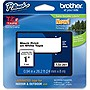 "Brother TZe Label Tape - 1"" Width x 26.20 ft Length - 1 Each - Rectangle - Thermal Transfer - Black, White"