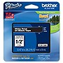 "Brother 12mm (0.47"") White on Black Tape for P-Touch, 8m (26.2 ft)"