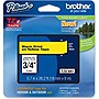"Brother 18mm (0.7"") Black on Yellow Tape for P-Touch, 8m (26.2 ft)"