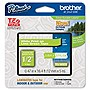 "Brother TZe-MQG35 12mm (0.47"") White on Lime Green Tape for P-touch, 5m"