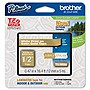 "Brother File Folder Label - 0.50"" Width x 16.40 ft Length - 1 Each - Plastic - Thermal Transfer - Gold"