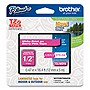 "Brother TZe-MQP35 White on Berry Pink Label Tape - 0.47"" Width x 16.40 ft Length - 1 Each - Direct Thermal, Thermal Transfer - Pink"