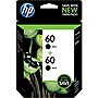 HP 60 Ink Cartridge - Black - Inkjet - 200 Page - 2 / Pack