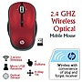 HP 2.4 GHz Wireless Optical Mobile Mouse, Sonoma Red (Refurbished)