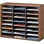 Fellowes Literature Organizer - 24 Compartment, Letter, Medium Oak - 23.4&quot; x 29.0&quot; x 11.9&quot; - 24 Compartment(s) - Wood, Fiberboard - Medium Oak