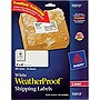 "Avery White WeatherProof Labels for Laser Printers 15513, 2"" x 4"", Pack of 100 - 2"" Width x 4"" Length - 10 / Pack - Rectangle - 10/Sheet - Polyester - Laser - White"
