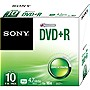 Sony DVD Recordable Media - DVD-R - 16x - 4.70 GB - 10 Pack Slim Case - 120mm