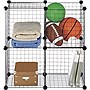 "Whitmor Storage Wire Cubes - Floor - 14.5"" Height x 14.5"" Width x 14.3"" Depth - 4 Compartment(s) - Steel, Plastic - Black"