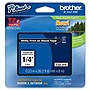 """Brother 6mm (0.23"""") White on Black Tape for P-Touch, 8m (26.2 ft)"""