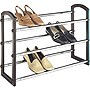 "Whitmor Storage Rack - 17.6"" Height x 25.3"" Width - 3 Tier(s) - Steel, Chrome Steel, Faux Leather - Silver Metallic"