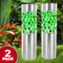 Two Pack Stainless Steel LED Solar Mosaic Stake Lights (Green) - Illuminate Your Landscape with Solar Energy!