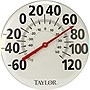 "Taylor 681 18"" Patio Thermometer - Celsius, Fahrenheit - Silver, Red"