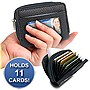 Women's Micro Leather Zip Around Accordion Credit Card Wallet (Black)
