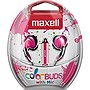 Maxell Color Buds with Mic - Stereo - Pink - Wired - Earbud - Binaural - Outer-ear