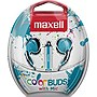 Maxell Color Buds with Mic - Stereo - Blue - Wired - Earbud - Binaural - Outer-ear