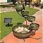 Smart Solar Ceramic Cascading Fountain, Glazed Green Bamboo