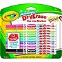 CRAYOLA 12 CT. DRY ERASE MARKERS WASHABLE FINE LINE MARKERS