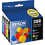 Epson+288%2c+Black+and+Color+Ink+Cartridges%2c+C%2fM%2fY%2fK+4-Pack+(T288120-BCS)