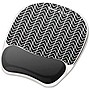 Fellowes Photo Gel Mouse Pad Wrist Rest with Microban - Chevron (Black/White)