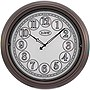 18IN INDOOR/OUTDOOR WALL CLOCK WITH LIGHTED DIAL & BROWN FINISH