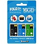3PK 16GBCUSTOMUSB FOLDIT USB INCLUDES BLACK LT BLUE GREEN