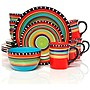 Gibson Elite Pueblo Springs 16-Piece Dinnerware Set, Mutli-Color