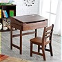 Lipper Childs Slanted Top Desk and Chair Set - Walnut