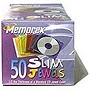 Memorex SLIM CD CASE - Book Fold - Plastic - Blue, Pink, Purple, Orange, Green  - 50-pack