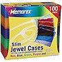 Memorex CD/DVD Jewel Cases - Plastic - Blue, Purple, Green, Orange, Pink - 100 CD/DVD