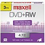 Maxell 4x DVD+RW Media - 4.7GB - 3 Pack