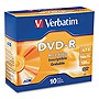 Verbatim 95099 DVD Recordable Media - DVD-R - 16x - 4.70 GB - 10 Pack Slim Case - 2 Hour Maximum Recording Time