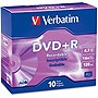 Verbatim 95097 DVD Recordable Media - DVD+R - 16x - 4.70 GB - 10 Pack Slim Case - 2 Hour Maximum Recording Time