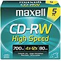 Maxell CD Rewritable Media - CD-RW - 4x - 700 MB - 5 Pack - 120mm1.33 Hour Maximum Recording Time