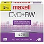 Maxell 4x DVD+RW Media - 4.7GB - 120mm Standard - 5 Pack