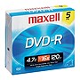 Maxell DVD Recordable Media - DVD-R - 16x - 4.70 GB - 5 Pack Jewel Case - 120mm2 Hour Maximum Recording Time