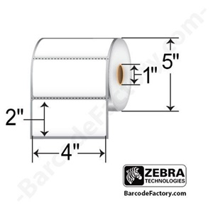 Zebra Label Paper 4 x 2in Direct Thermal Zebra Z-Perform 2000D 1 in core - 4&quot; Width x 2&quot; Length - 1240/Roll - 1&quot; Core - 6 / Carton - White