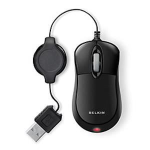 Belkin Retractable Mouse - Optical - USB - Black