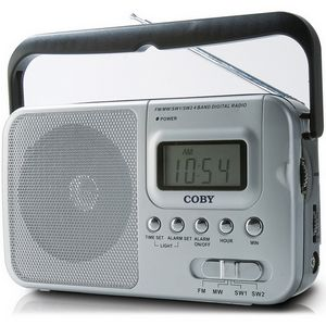 Coby CX39 World Band AM/FM/Shortwave Radio with Digital Display, Silver