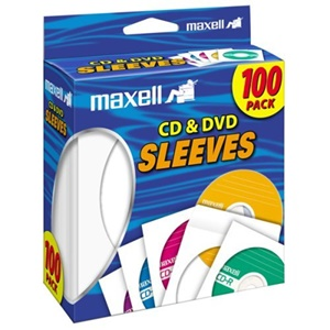 Maxell CD-402 CD/DVD Sleeves (100-Pack) - Slide Insert - White