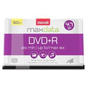Maxell DVD Recordable Media - DVD+R - 16x - 4.70 GB - 50 Pack Spindle - 120mm2 Hour Maximum Recording Time