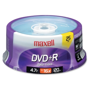 Maxell DVD Recordable Media - DVD+R - 16x - 4.70 GB - 25 Pack Spindle - 120mm