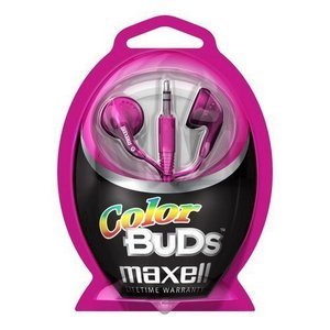 Maxell Color Buds Stereo Earphone - Wired Connectivity - Stereo - Earbud - Pink