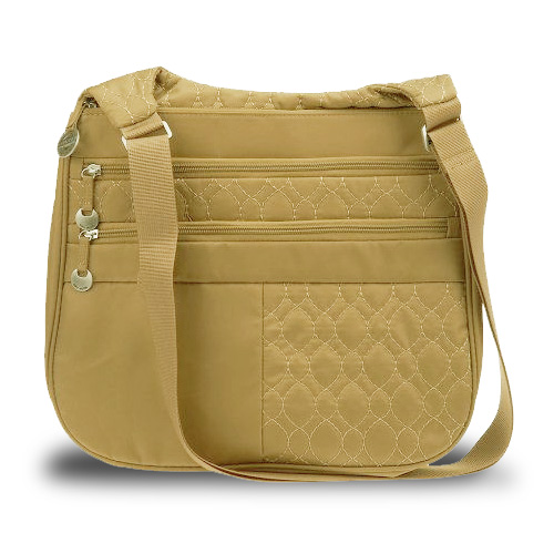 Travelon Quilted Nylon Multi Pocket Shoulder Bag (Tan) at Sears.com