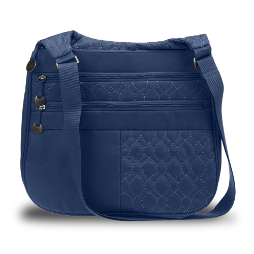 Travelon Quilted Nylon Multi Pocket Shoulder Bag (Navy) at Sears.com