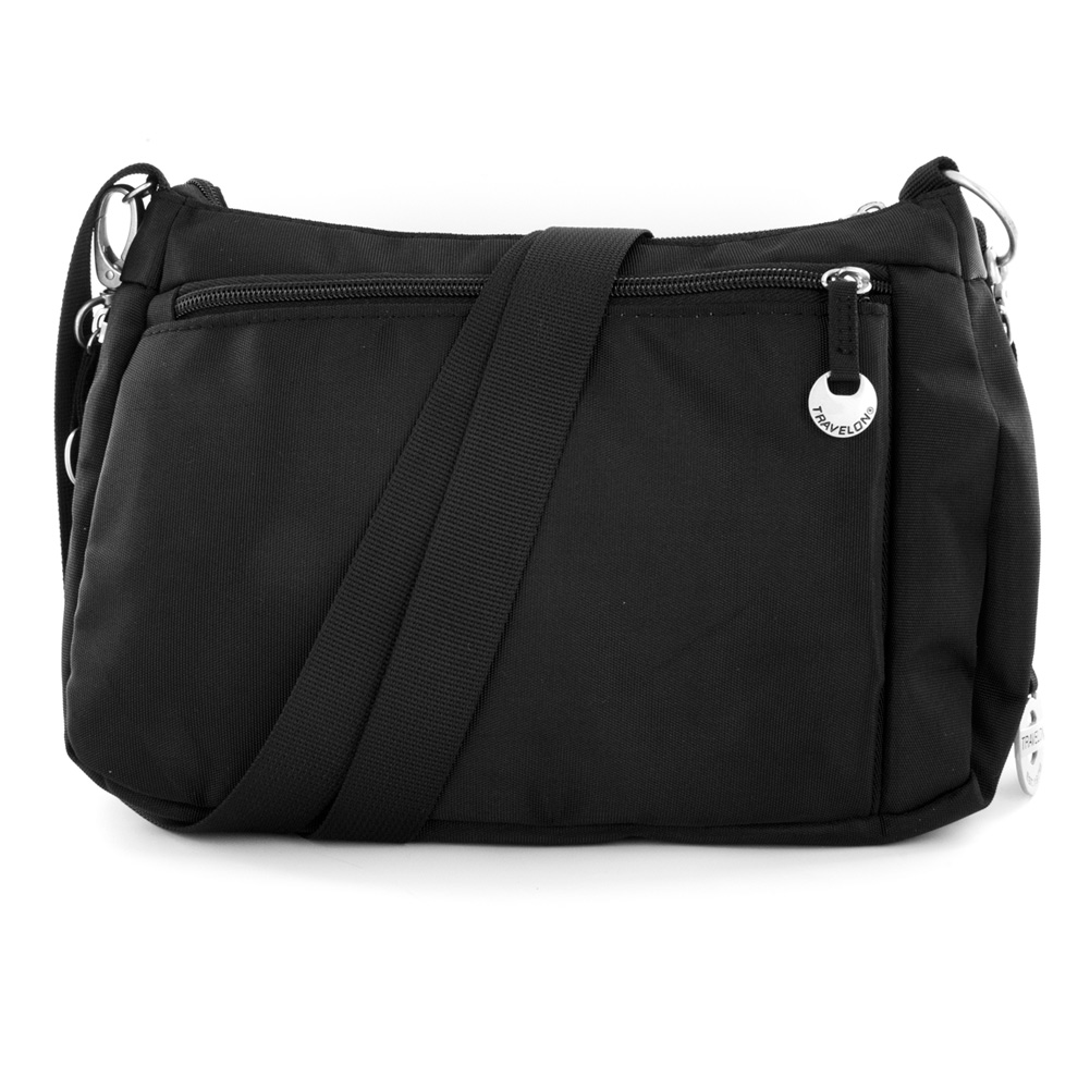 Travelon East/West Shoulder Bag with Leather Trim (Nylon Black) at Sears.com