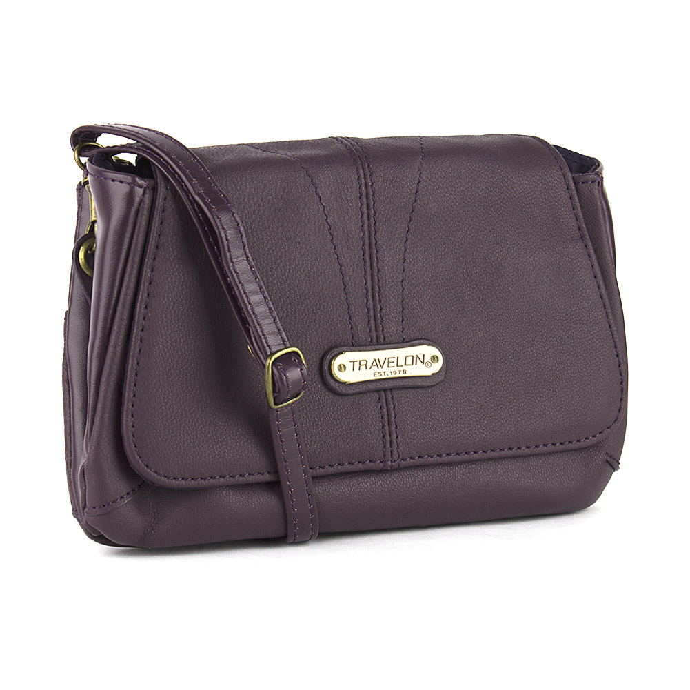Travelon Small Leather Shoulder Bag with Strap (Purple) at Sears.com
