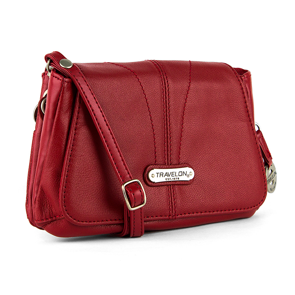 Travelon Small Leather Shoulder Bag with Strap (Red) at Sears.com