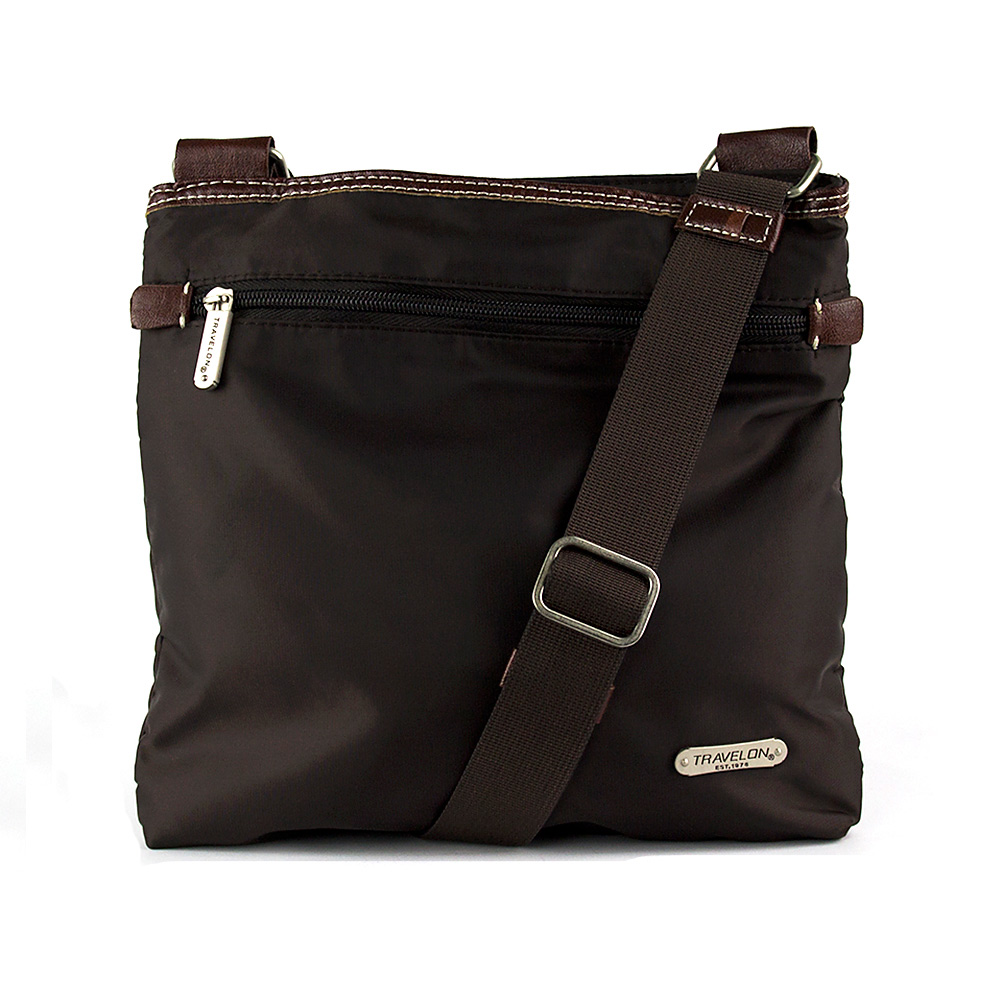 Travelon Slim Messenger Bag with Contrasting Trim (Chocolate) at Sears.com