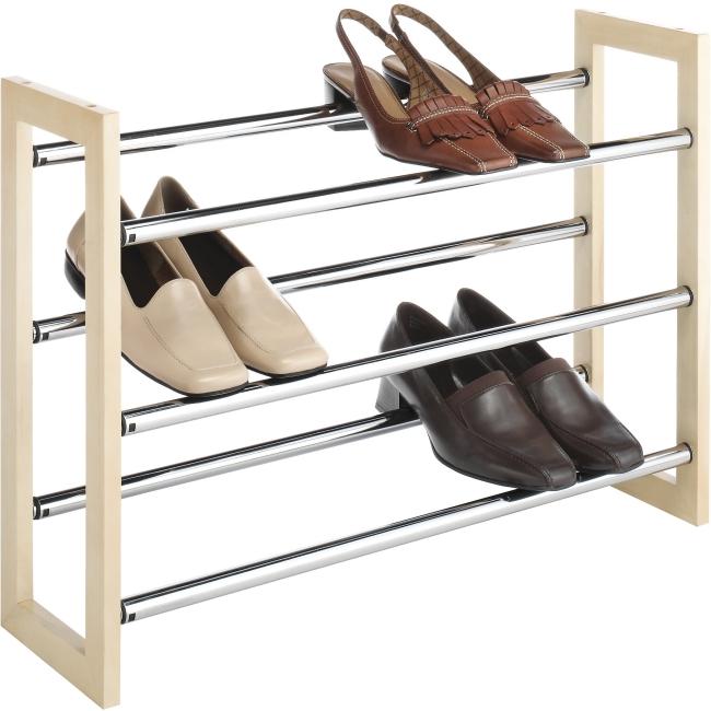 Whitmor 6026-2516 Shoe Rack - 3 Tier(s) - Wood Metal - Chrome