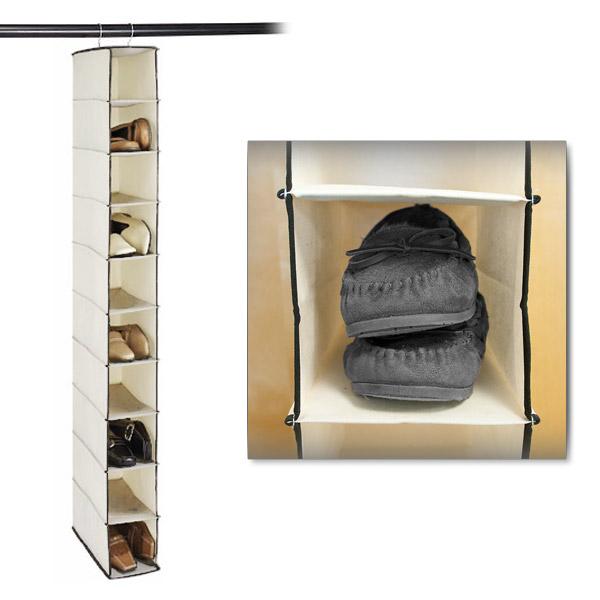 stylishly stored ten shelf canvas hanging shoe organizer